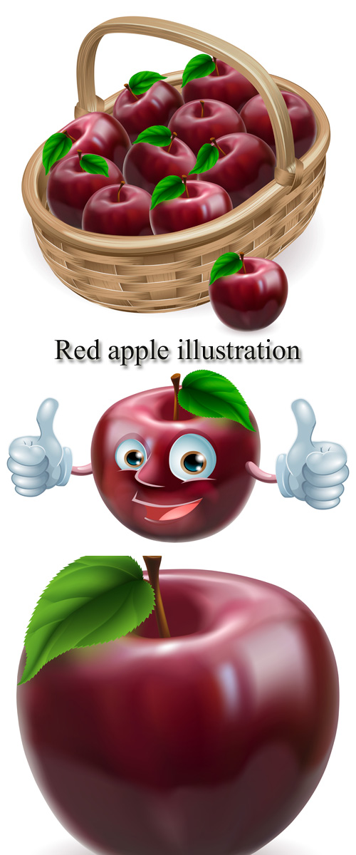 Stock: Red apple illustration