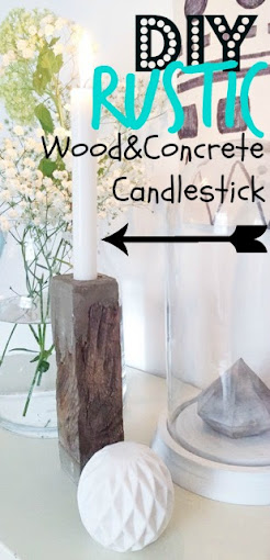 wood and concrete candlestick