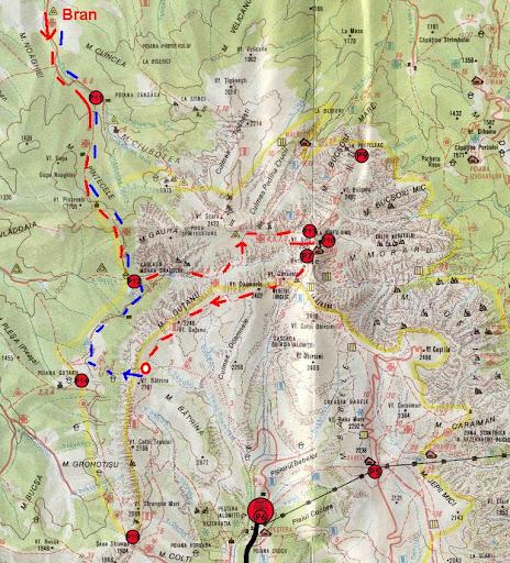 harta Bucegi Valea Gaura Omu