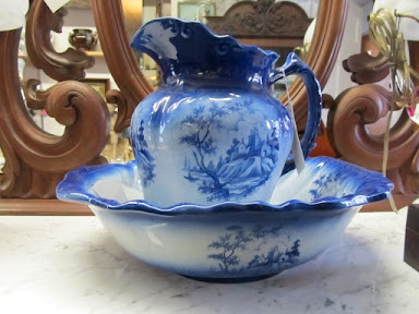 washstand, blue jug & bowl