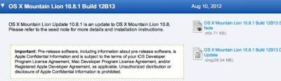 Apple lanza la primera beta para desarrolladores de OS X 10.8.1