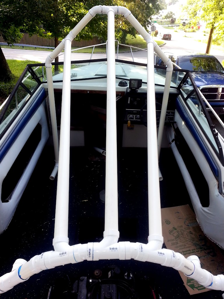 Pvc Boat Shelter : My quot pvc based boat cover frame support build page