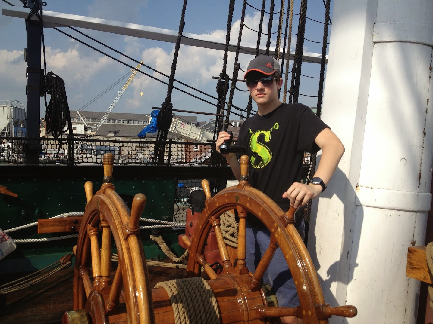 """Me """"steering"""" the USS Constitution"""