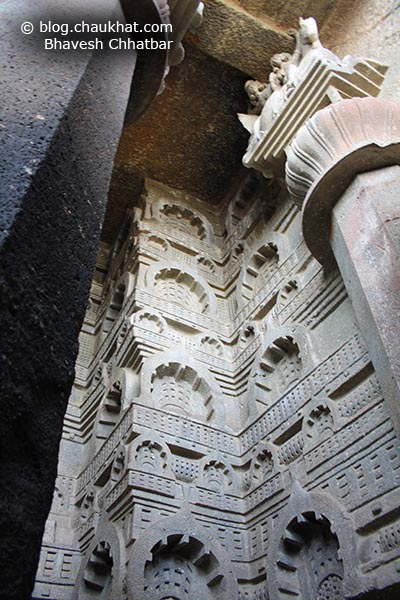 Pillars, and carvings on the outer walls of Bedse Caves