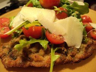 Design Gathering: Crisp Veal Milanese, topped with Arugula Salad....