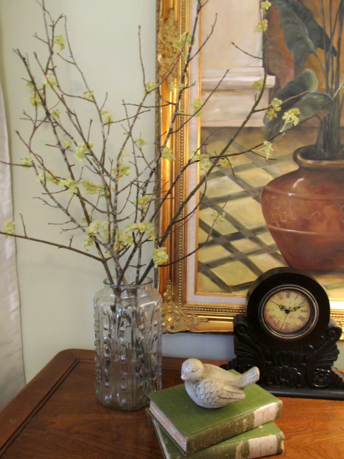 Cottage hill spring mantel decorating with faux