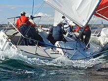 J/24 sailing fast downwind in Australia