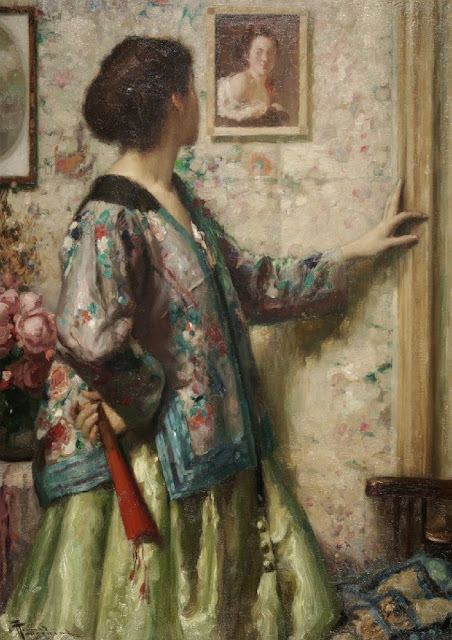 Fernand Toussaint - Jeune Fille Regardant un Tableau de Fragonard