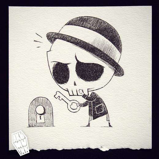 akumuink, nightmare art, cute skull art, goth art,cute goth, skull guy, skull character, skull tshirt art, artist alley skulls, comiccon skull art, akumu
