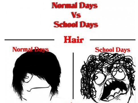 Normal Days VS School Days-hair