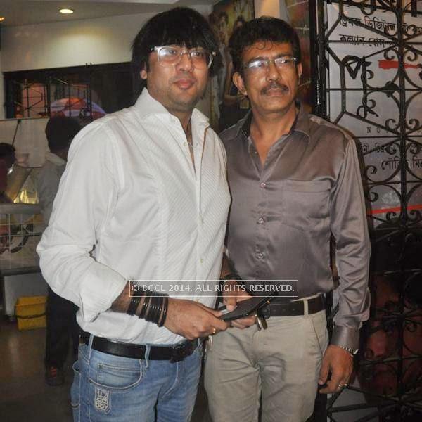 Ringo and Rana during the premiere of Ranjan Ghosh's movie Hrid Majhare at Priya in Kolkata.