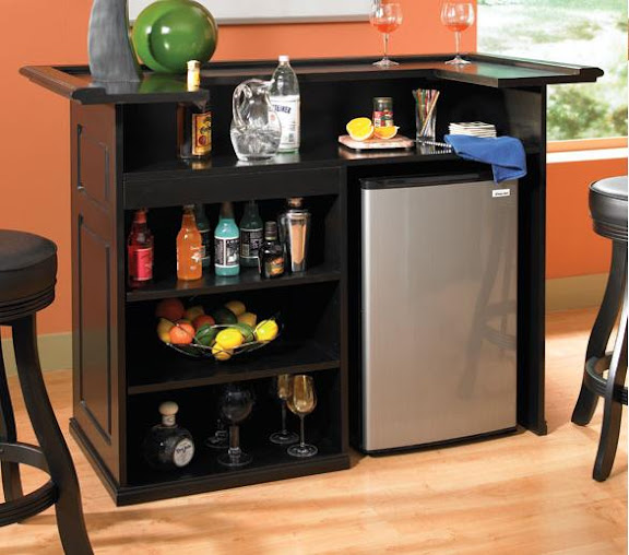 details about trenton home bar home pub black with fridge pocket