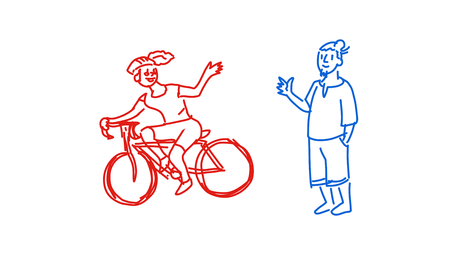 Alice rides off on her new bike, waving goodbye to Bob.