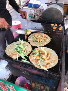 Vegan shou zhua bing from a food cart in Yangshuo, China