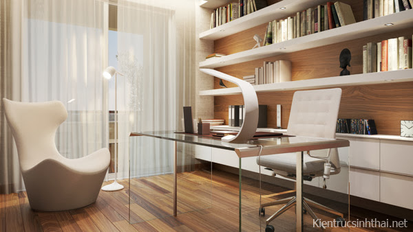 Phòng làm việc căn hộ penhouse mang phong cách Scandinavia