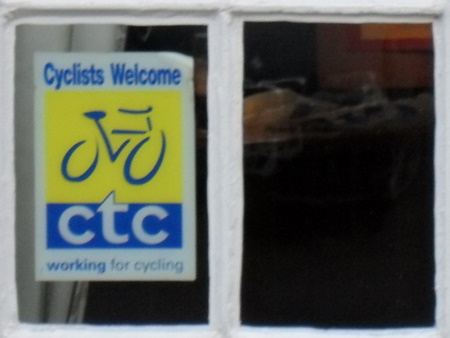 Cyclists Welcome sign