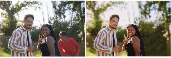 foto de três amigos sendo editada pelo airbrush