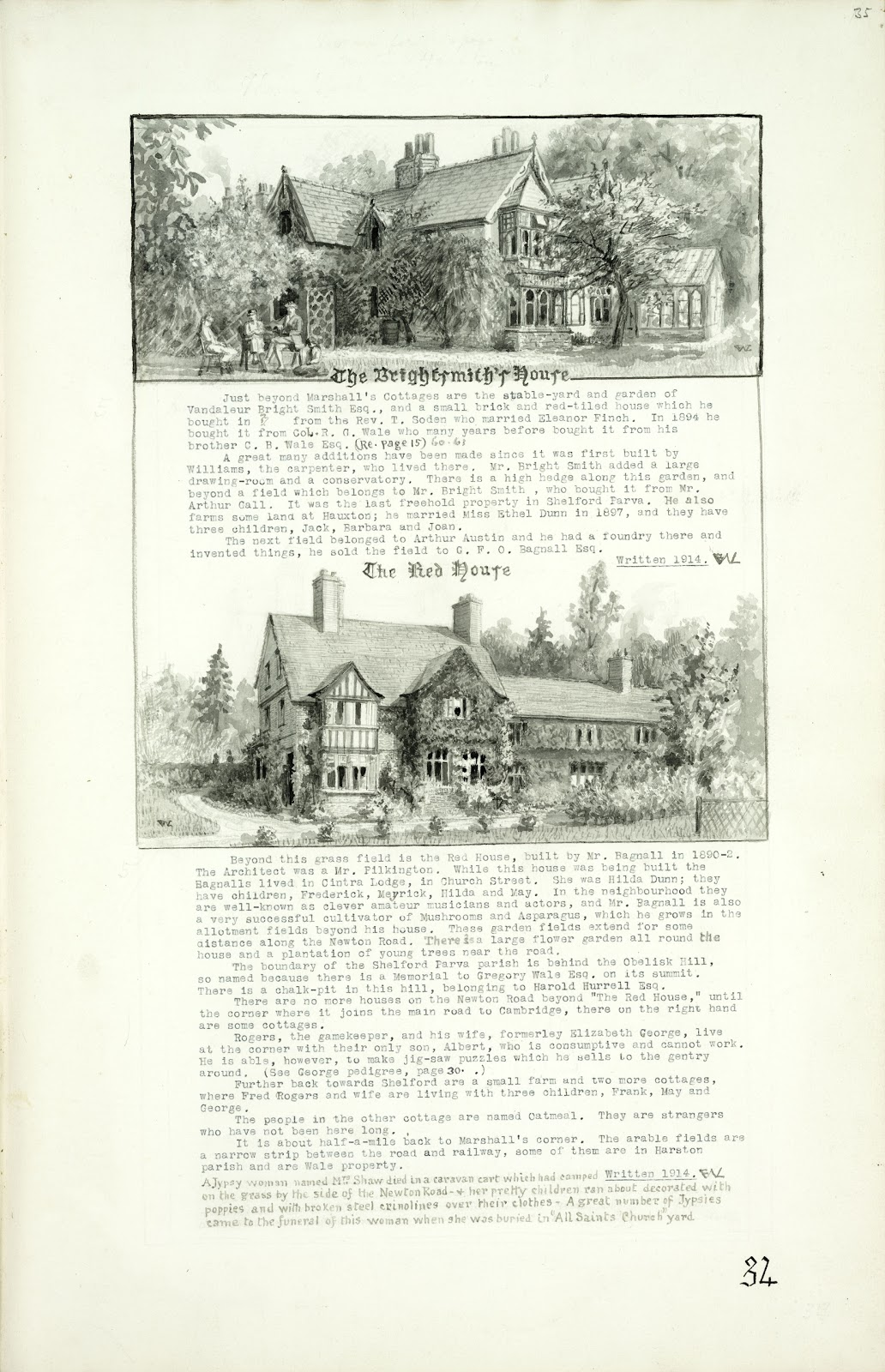 A Record of Shelford Parva by Fanny Wale P34 fo. 35, page 34: Two black and white watercolours of The Bright Smiths' house and the Red House both with descriptions, written in 1914. [fo.30 but within mount B]