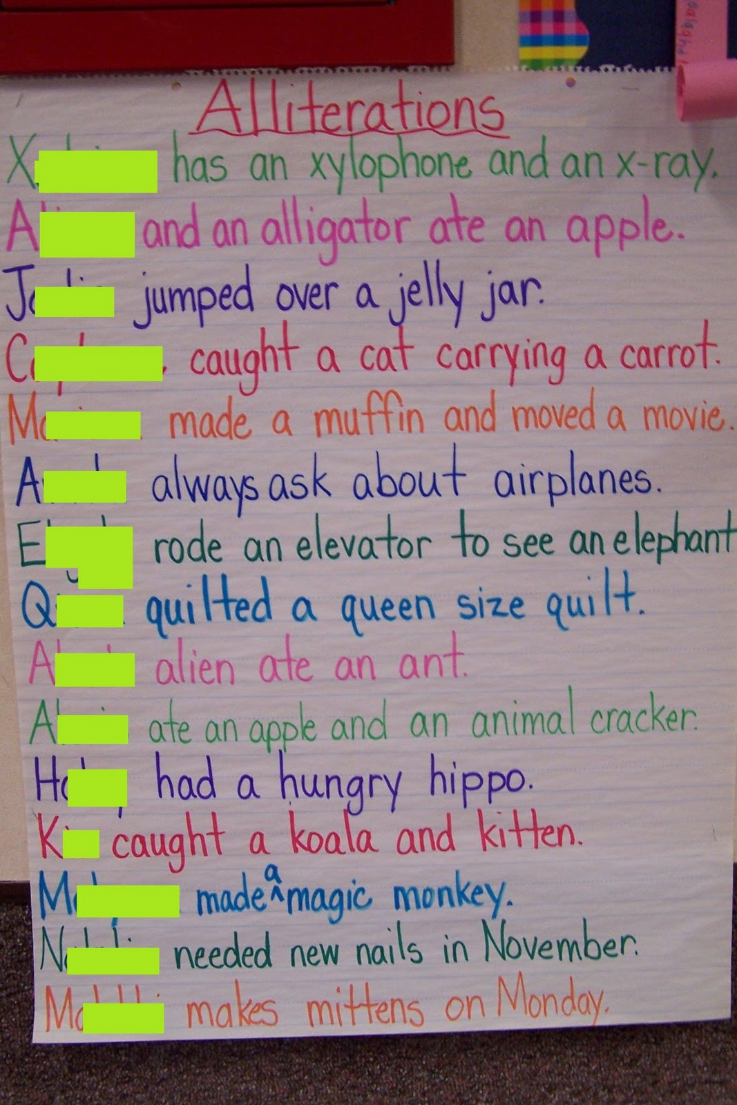 Then each student wrote their sentence on a strip of pink paper and ...