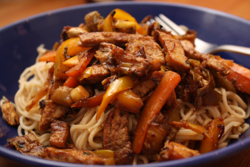 Stir fry pork with noodles