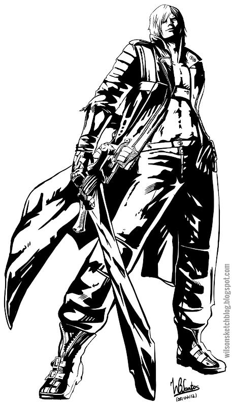 Dante from Ultimate Marvel vs Capcom 3, using Krita 2.5 Beta.