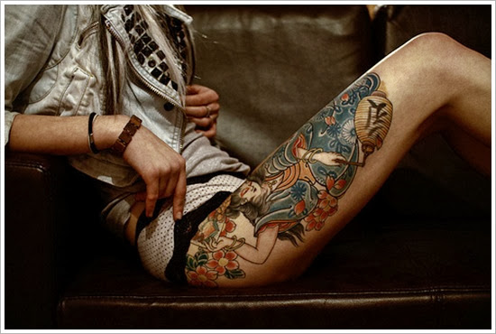 thigh tattoo deisgns for girls