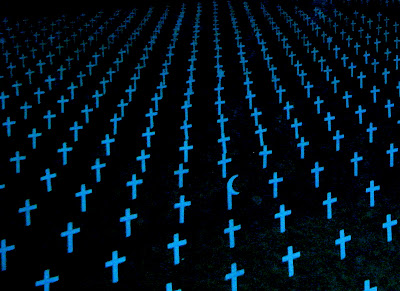 painting of a field of pale blue crosses some with Jewish and Muslim symbols on dark blue background