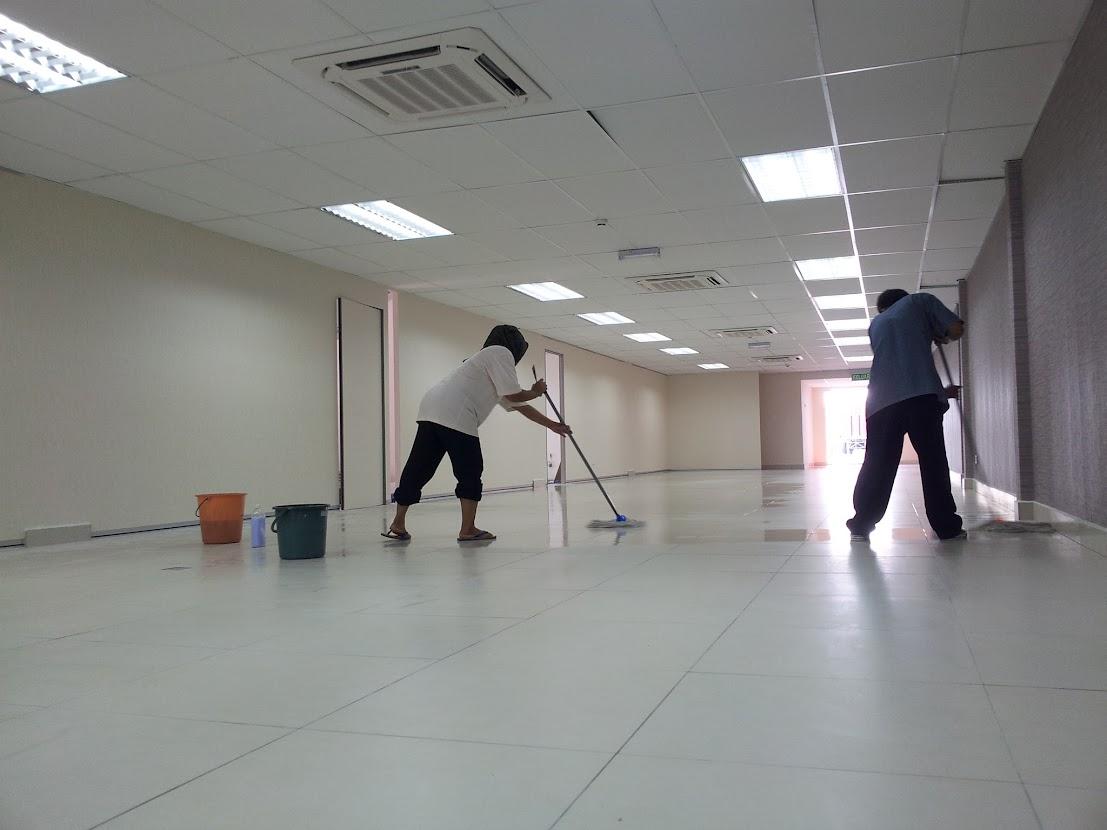 cleaning floor tiles