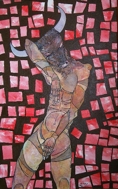 El minotauro feliz,pintura del pintor Álvaro Peña