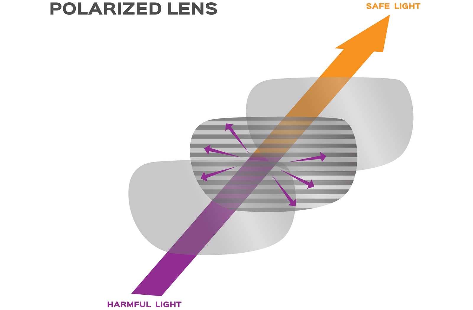 polarized lens technical visualization in orange and purple colours