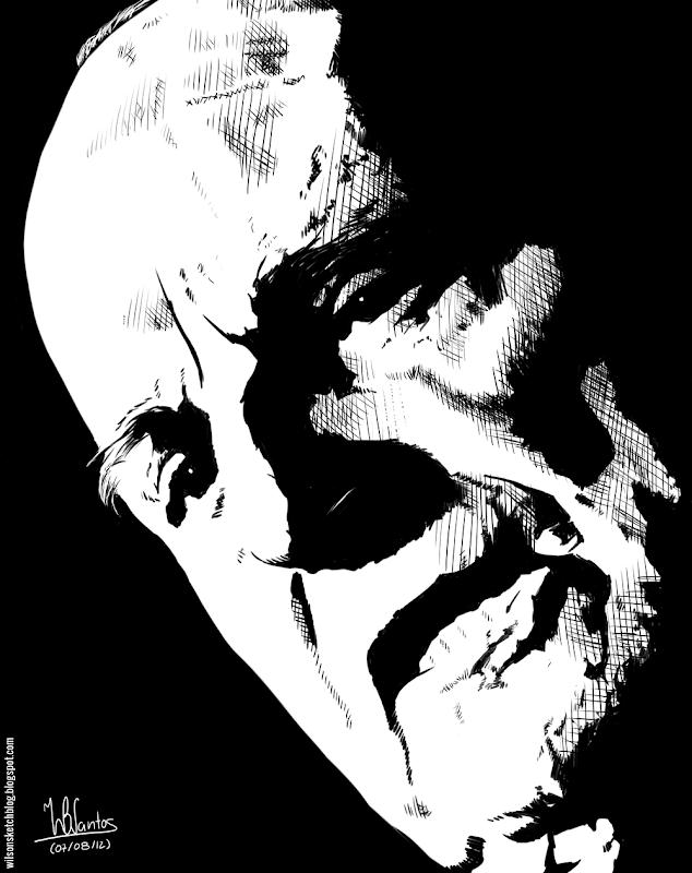 Ink drawing of José Hermano Saraiva, using Krita 2.4.