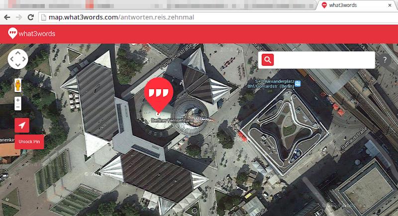 Screenshot: what3words - Karte mit Pin