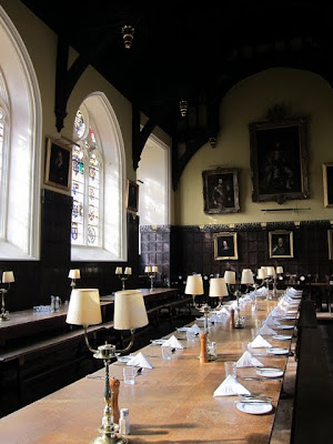 Table set for formal hall at Oriel College in Oxford