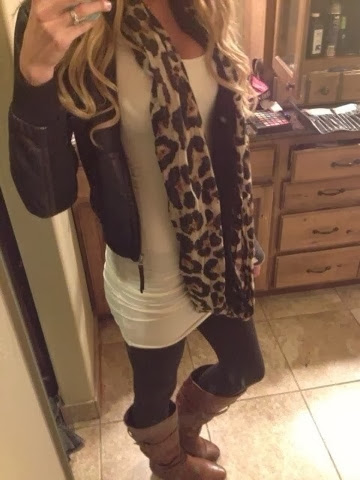Dark cheetah scarf, tan jacket, white blouse and tan leggings for fall