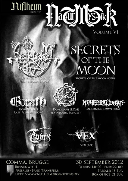 Bethlehem + Secrets of the Moon + Dordeduh + Gorath + Mourning Dawn @ Jeugdhuis Comma, Bruges (Belgique) 30/09/2012