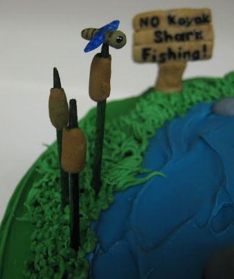 Dad Fishing in Kayak Cake - Close-up of Dragonfly and Cattails