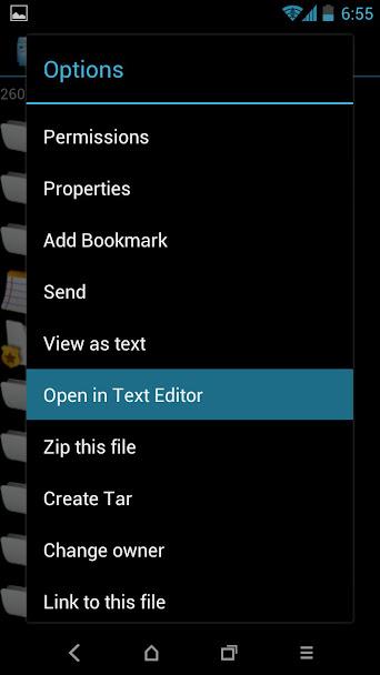 root browser menu