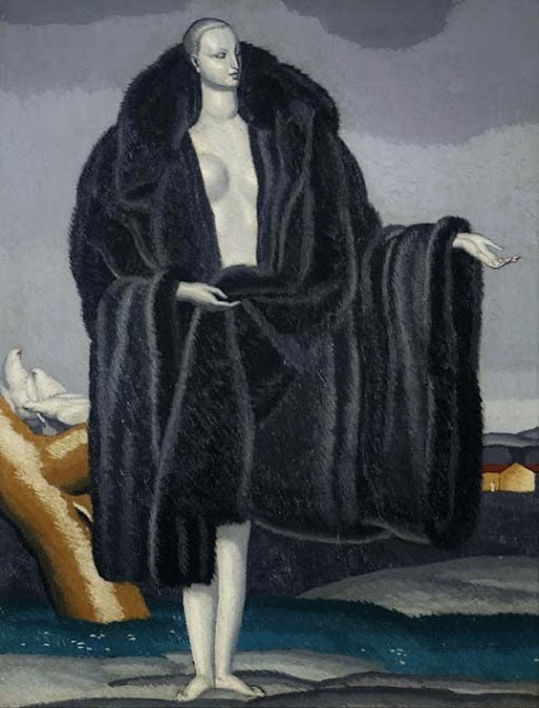 Jean Dupas - Woman in Fur with Doves