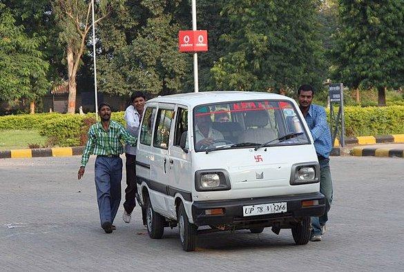 pushing the van