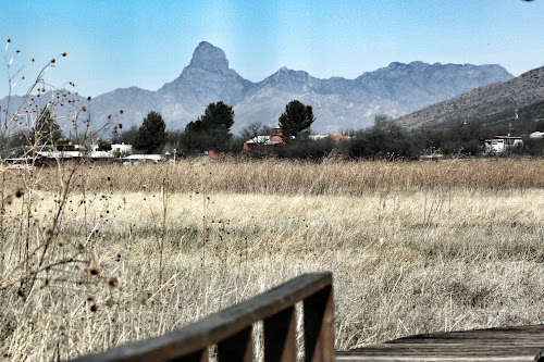 Looking through Arivaca to the Bobquivari Mountains from the Cienega