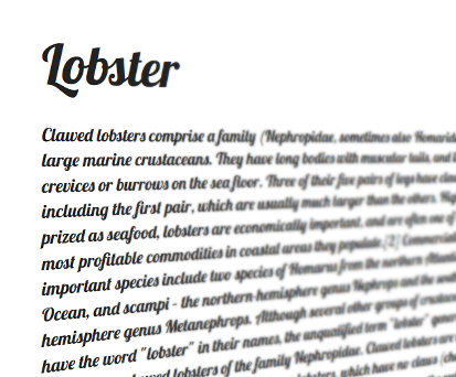 A specimen of the font Lobster.