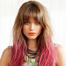 Cabelos com pontas coloridas - rosa