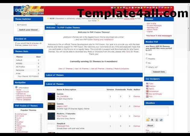 Free White Blue Phpfusion Theme Template