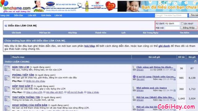 đăng ký tài khoản diễn đàn làm cha mẹ
