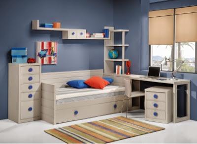 30 dormitorios juveniles que te encantaran - Habitacion juvenil azul ...