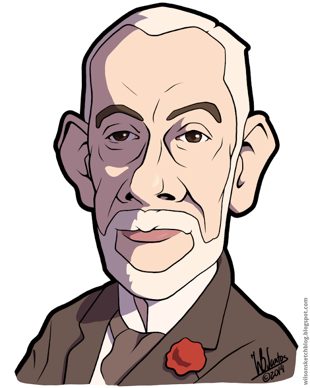 Cartoon caricature of the 7th President of the Portuguese Republic, Manuel Teixeira Gomes.