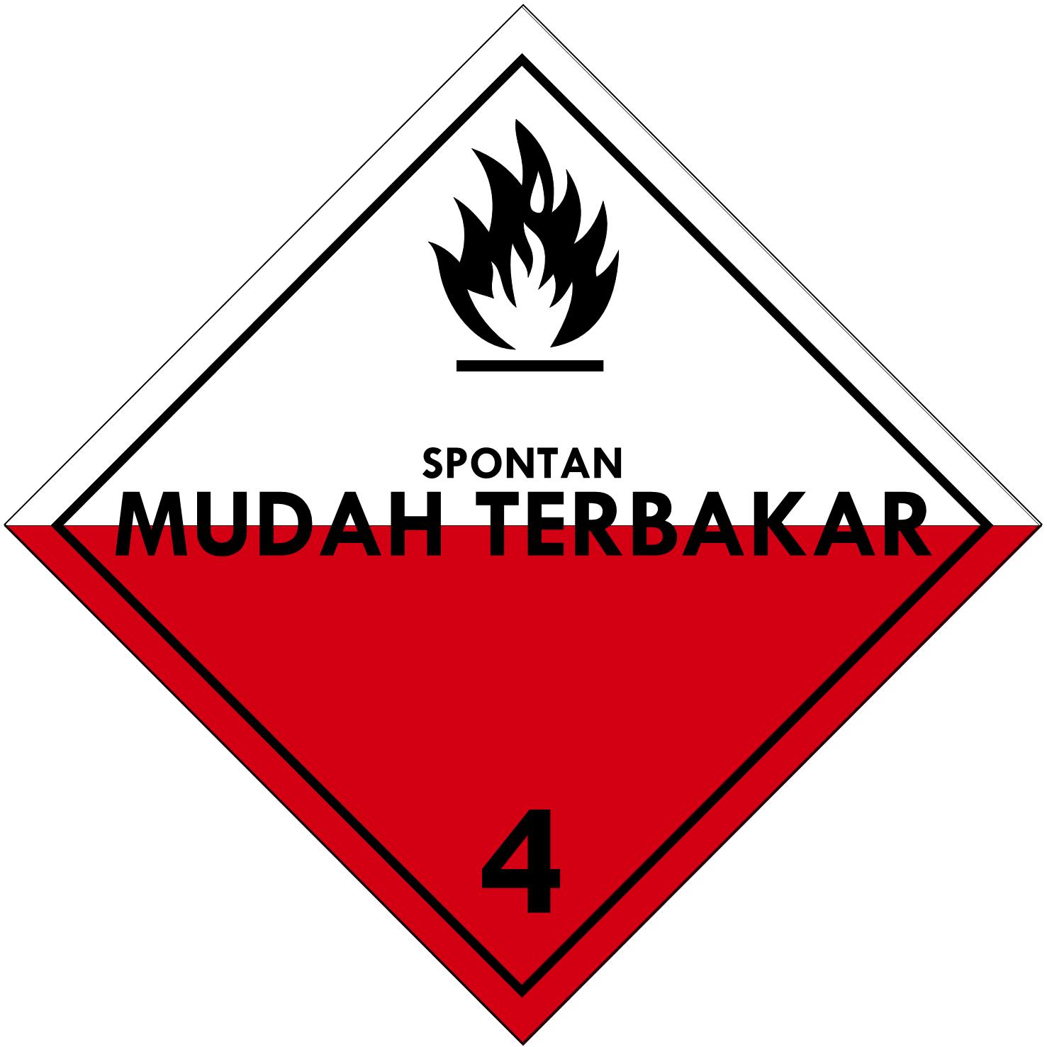 Label (Simbol) Transportasi Bahan (Material) Zat Padat Mudah Terbakar 4.2