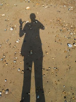 My shadow in the sun at Eastbourne beach