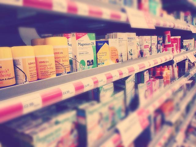 do beauty suplements work? - pic of pills and multivitamins on aisle of a departmental store