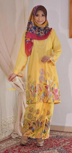 Baju Raya 2014 Baju Kurung Pahang Cotton 3D Kuning Yellow